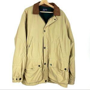 NAUTICA jacket XL beige zip fleece lined coat o912